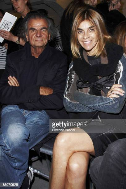 Photographer Patrick Demarchelier and Carine Roitfeld are seen at the Jean Paul Gaultier fashion show during Paris Fashion Week on September 30 2008...