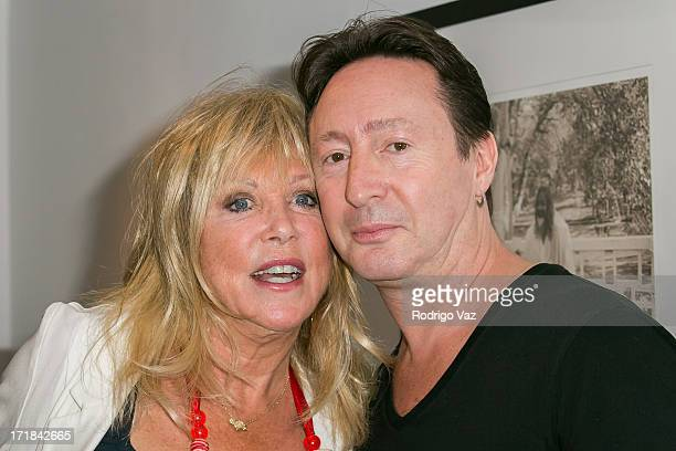 Photographer Pattie Boyd and musician Julian Lennon attend the Pattie Boyd Newly Discovered Photo Exhibition at Morrison Hotel Gallery on June 28...