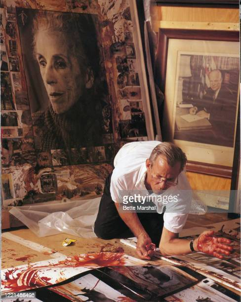 Photographer Peter Beard is photographed for Avenue Magazine in 1990 working in his studio in New York City PUBLISHED IMAGE