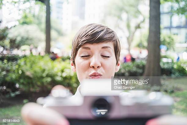 Photographer pouting for selfie