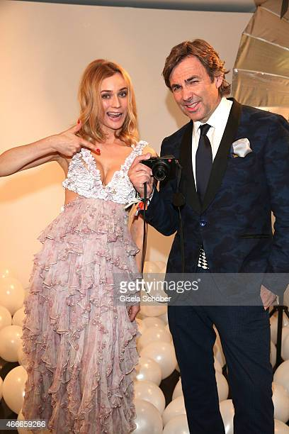 Photographer Prinz Hubertus zu Hohenlohe and Diane Kruger during the PEOPLE Magazine Germany launch party at Waldorf Astoria on March 17 2015 in...