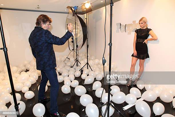 Photographer Prinz Hubertus zu Hohenlohe photographs Lena Gercke during the PEOPLE Magazine Germany launch party at Waldorf Astoria on March 17 2015...