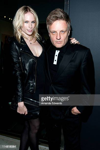 Photographer Rankin and his wife Tuuli Shipster attend Rankin's Open Rankin photography exhibition and US gallery launch party at Rankin Gallery on...