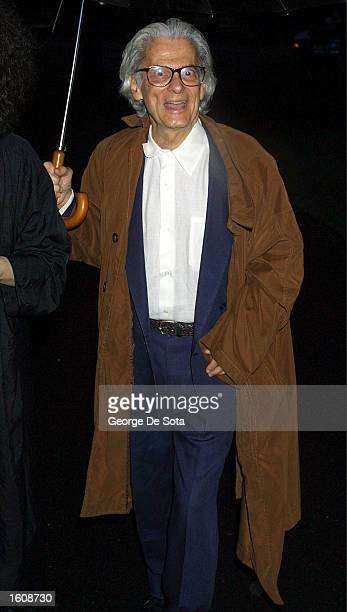 Photographer Richard Avedon attends a rainy openning night of The Seagull August 12 2001 at the Delacorte Theatre in New York City''s Central Park