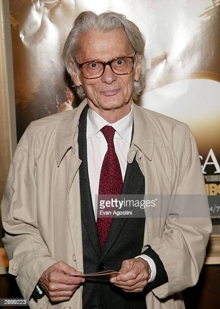 Photographer Richard Avedon attends the HBO FILMS Premiere of Angels In America at The Ziegfeld Theater November 04 2003 in New York City
