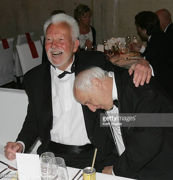 Photographer Robert Lebeck shares a laugh with photographer Thomas Hoepker at the Henri Nannen Award at the Schauspielhaus on May 11 2007 in Hamburg...