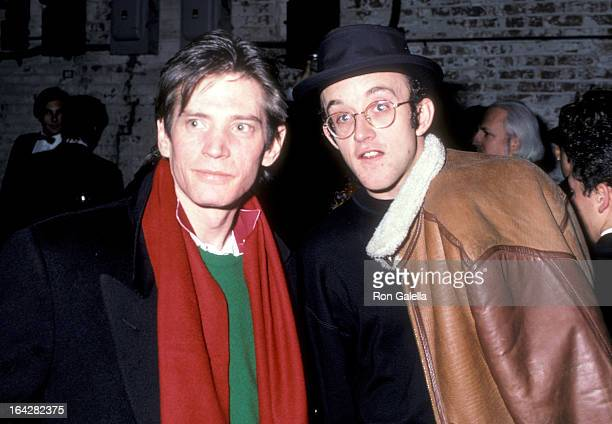 Photographer Robert Mapplethorpe and artist Keith Haring attend The Tunnel Grand Opening Celebration on December 15 1986 at The Tunnel 220 12th...