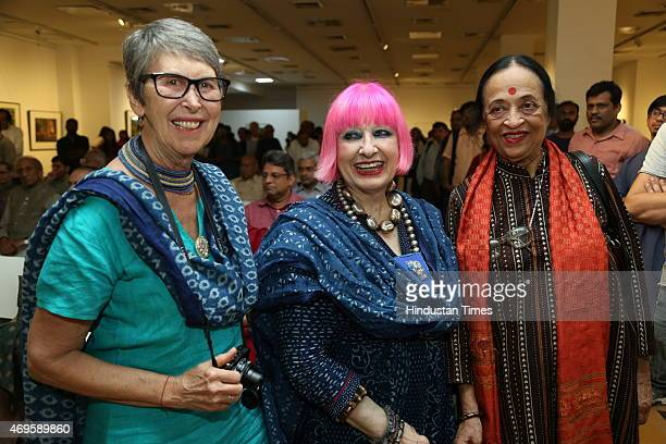 Photographer Robyn Beeche fashion designer Zandra Rhodes and artist Anjolie Ela Menon at the Preview of Trees a solo exhibition by photographer Raghu...
