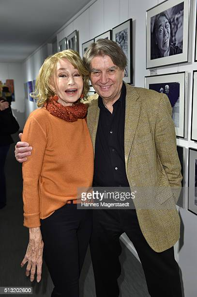 Photographer Roger Fritz and Margit Friedrich during the vernissage Roger Fritz at Burda Verlag on March 1 2016 in Munich Germany