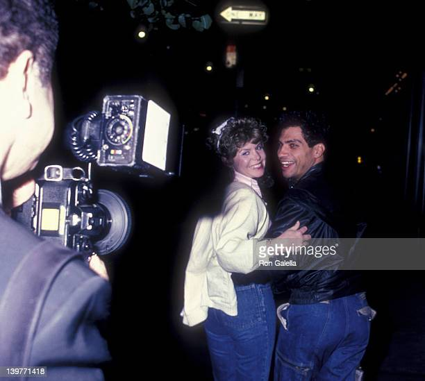 Photographer Ron Galella actor Robert Hegyes and date sighted on May 19 1985 at Elaine's Restaurant in New York City