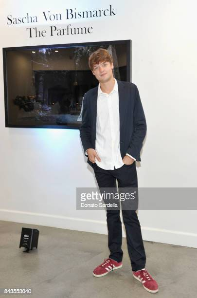 Photographer Sascha von Bismarck and celebrity floral and fragrance designer Eric Buterbaugh attend the private opening of Sascha von Bismarck debut...