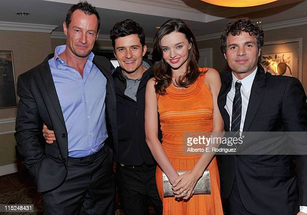 Photographer Sebastian Copeland actor Orlando Bloom model Miranda Kerr and actor Mark Ruffalo attend Global Green USA's 15th annual Millenium Awards...