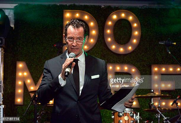 Photographer Sebastian Copeland speaks onstage during Global Green USA's 13th annual preOscar party at Mr C Beverly Hills on February 24 2016 in Los...