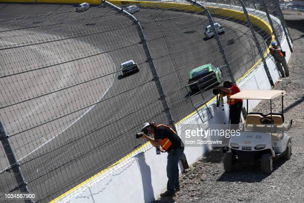 Photographer shoot race action in turn one during the Monster Energy NASCAR Cup Series South Point 400 Sunday September 16 at the Las Vegas Motor...