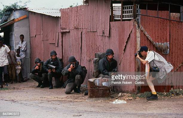 A photographer shoots a closeup of French Legionnaires in action in Mogadishu These events were among the first incidents between Legionnaires and...