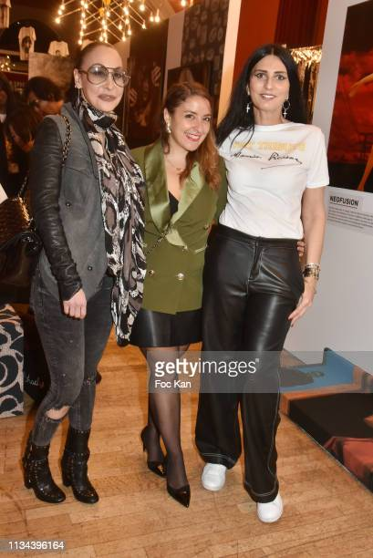 Photographer Stefanie Renoma influencer Mademoiselle Valerie and Sylvie Ortega Munos attend Maurice Renoma Tribute to Street Art Preview at Espace...
