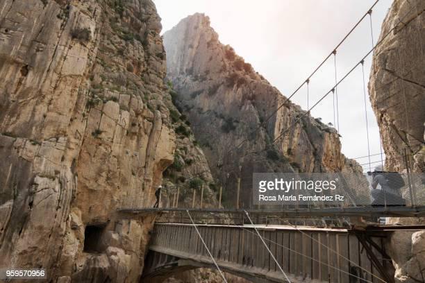 photographer taken a photo on bridge amidst rock mountains at the king's little path (el caminito del rey), malga, andalusia, spain - caminito del rey fotografías e imágenes de stock