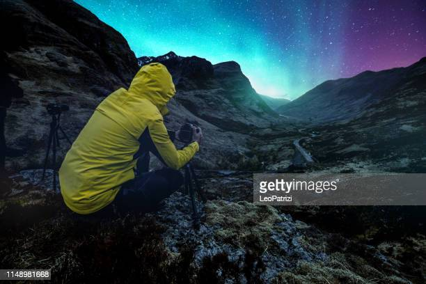 Photographer taking a picture of the northern lights
