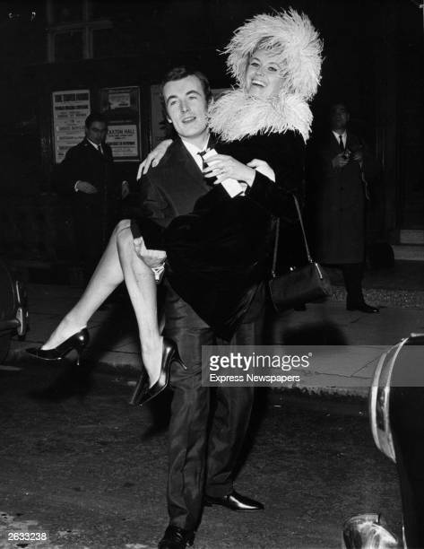 Photographer Terry O'Neill with Vera Day at Caxton Hall after their wedding