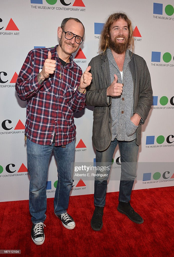 """Photographer Terry Richardson (L) and guest attend """"Yesssss!"""" MOCA Gala 2013, Celebrating the Opening of the Exhibition Urs Fischer, at MOCA Grand Avenue and The Geffen Contemporary on April 20, 2013 in Los Angeles, California."""