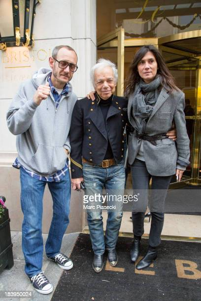 Photographer Terry Richardson Ralph Lauren and EditorinChief of 'VOGUE' FRANCE Emmanuelle Alt are seen leaving the 'Bristol' hotel on October 10 2013...