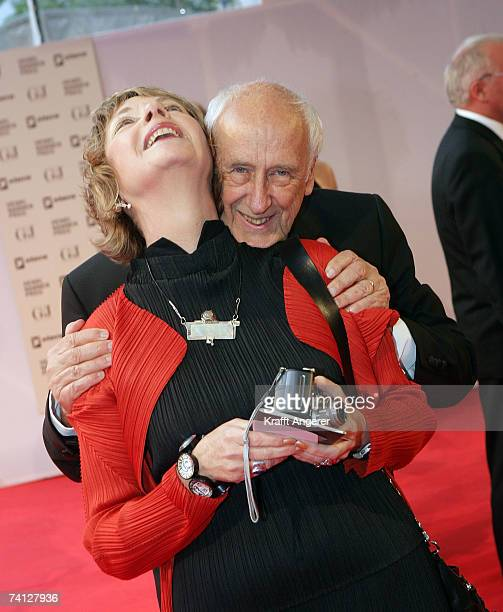 Photographer Thomas Hoepker and his wife Christine Kruchen pose together during the Henri Nannen Awards at the Deutsche Schauspielhaus on May 11 2007...
