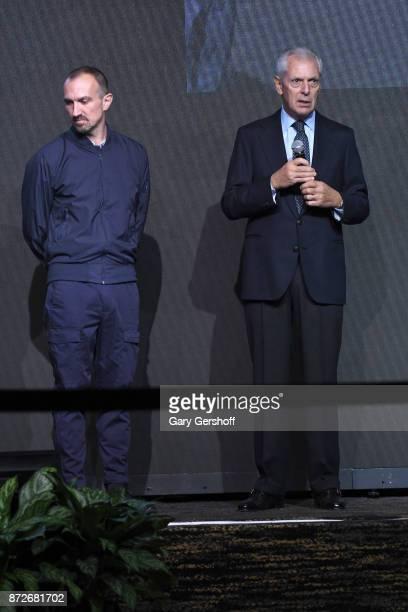 Photographer Tim Walker and Chief Executive Officer of Pirelli C SpA Marco Tronchetti Provera seen on stage during the Pirelli Calendar 2018 Launch...