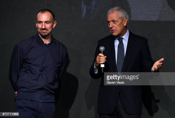 Photographer Tim Walker and Pirelli Tyre SpA chief executive Marco Tronchetti Provera attend 2018 Pirelli Calendar launch press conference at The...