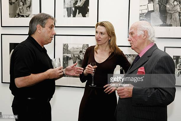 Photographer Tom Stoddart, director Janice Sutherland and photographer Terry Fincher attend a Blake 7 event at the Getty Images Gallery on October...
