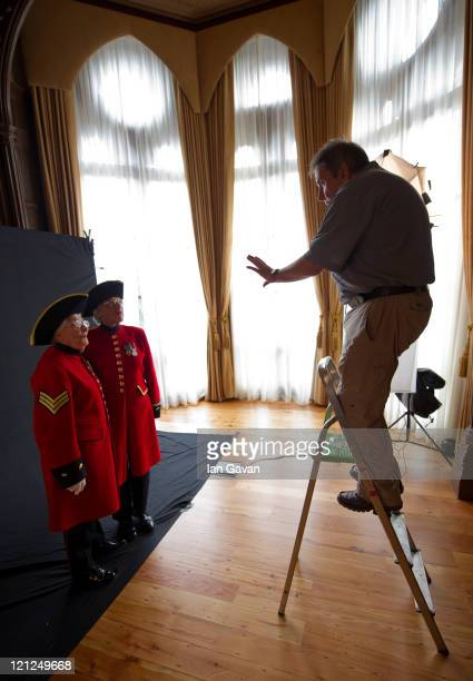 Photographer Tom Stoddart photographs Royal Chelsea Hospital residents Dorothy Hughes and Marjorie Cole for The Variety Club's Hidden Gems Project at...
