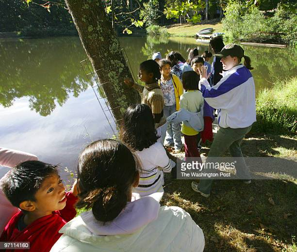 Tracy A Woodward/TWP NEGATIVE NUMBER 1723008 The Phoebe Hall Knipling Outdoor Laboratory the Pond Mountains Fauquier County Fifthgraders from Carlin...