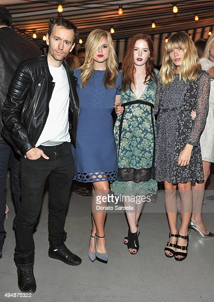 Photographer Tyler Shields actresses Ana MulvoyTen Ellie Bamber and Emma Greenwell attend James Corden Vanity Fair And Burberry Celebrate The 2015...