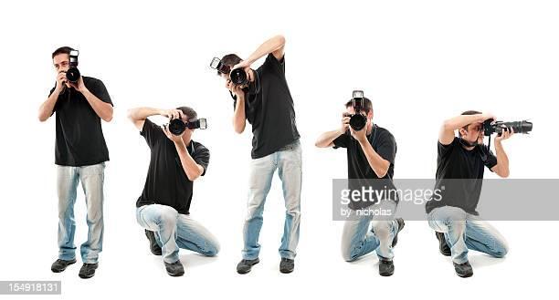 fotograf mit kamera, isoliert auf weiss - fotograf stock-fotos und bilder