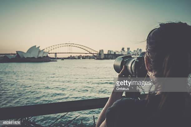 Photographer Woman Taking Pictures of Sydney City