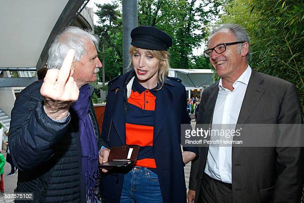 Photographer Yann ArthusBertrand actress Pauline Lefevre and guest attend Day Twelve of the 2016 French Tennis Open at Roland Garros on June 2 2016...