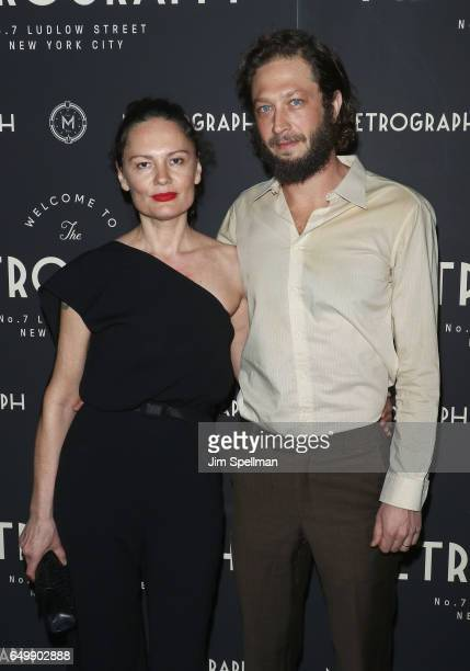Photographer Yelena Yemchuk and actor Ebon MossBachrach attend the Metrograph 1st year anniversary party at Metrograph on March 8 2017 in New York...