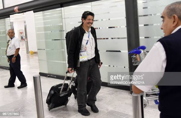 AFP photographer Yuri Cortez who unwittingly became part of the celebrations of Croatia in their World Cup semifinal match against England arrives at...