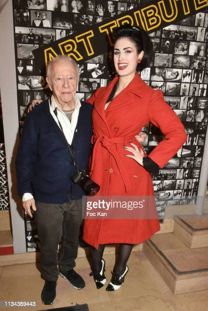 photographer/designer Maurice Renoma and model Elsa Oesinger attend Maurice Renoma Tribute to Street Art Preview at Espace Bernard Palissy on March...