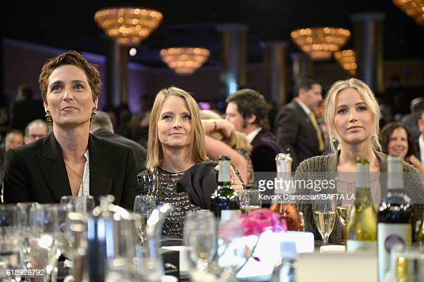 Photographer/director Alexandra Hedison honoree Jodie Foster and actress Jennifer Lawrence attend the 2016 AMD British Academy Britannia Awards...
