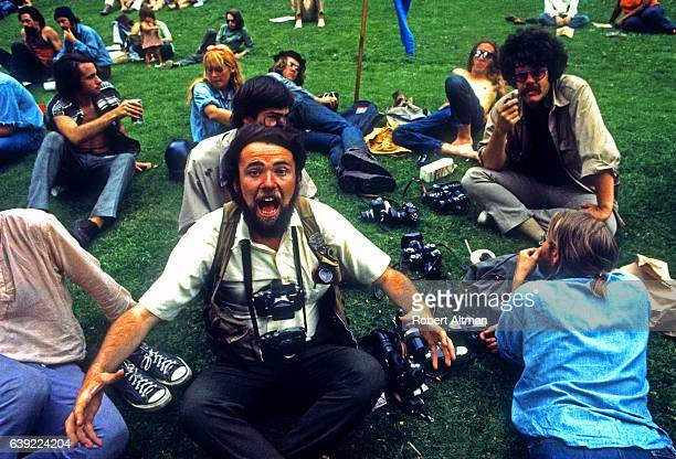 Photographers Alan Copeland and Nacio Jan Brown gather at Golden Gate Park circa 1970 in San Francisco California
