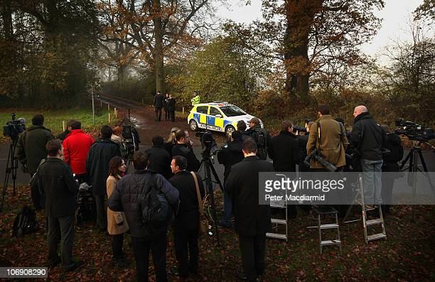 Photographers and reporters gather outside the house of the parents of Kate Middleton on November 16, 2010 in Bucklebury, England. After much...