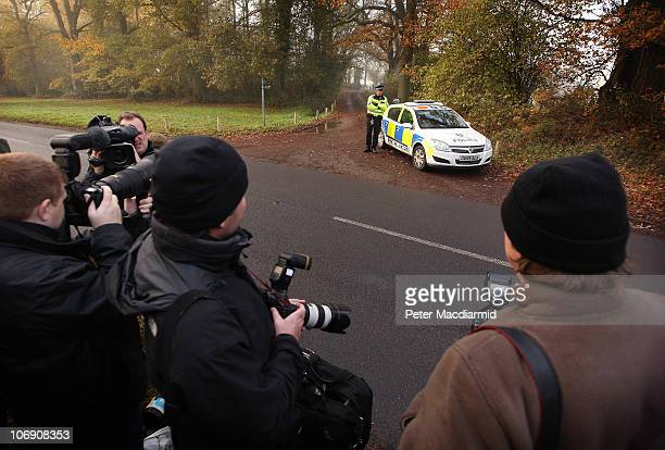 Photographers and reporters gather outside the house of the parents of Kate Middleton on November 16 2010 in Bucklebury England After much...