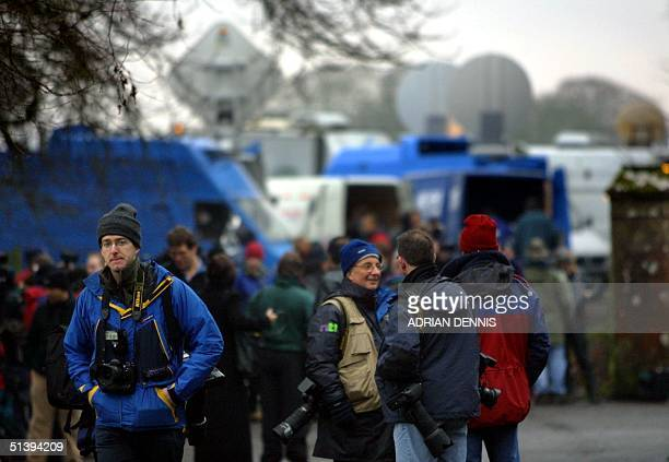 Photographers and television crews gather outside Skibo Castle awaiting news about Madonna and Guy Ritchie's wedding 22 December 2000 The small...
