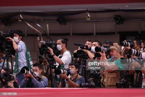 Photographers are seen at the judo on day five of the Tokyo 2020 Olympic Games at Nippon Budokan on July 28, 2021 in Tokyo, Japan.