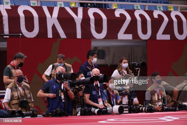 Photographers are seen at the judo on day two of the Tokyo 2020 Olympic Games at Nippon Budokan on July 25, 2021 in Tokyo, Japan.