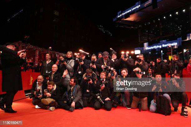 Photographers are seen on the red carpet at the closing ceremony of the 69th Berlinale International Film Festival Berlin at Berlinale Palace on...