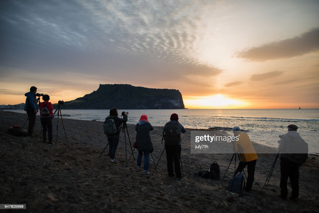 Photographers at the Beach : Stock Photo