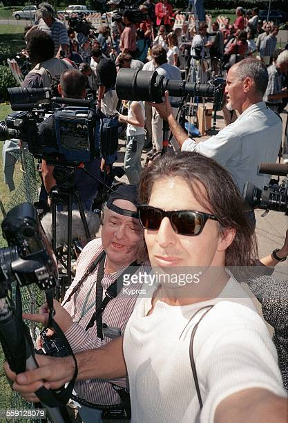 Photographers at the California home of American football star and actor OJ Simpson following the murders of Nicole Brown Simpson and Ronald Goldman...