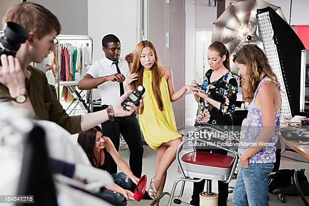 Photographers at work on fashion shoot