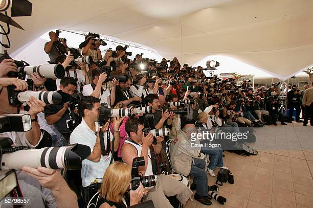 """Photographers attend the photocall for """"Lemming"""" at the Palais during the 58th International Cannes Film Festival on May 11, 2005 in Cannes, France."""